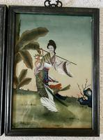 Pair of Chinese Reverse Glass Painting c.1920 (8 of 9)