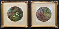 Brighton School - Pair early 1900s Circular Floral Still Life Oil paintings