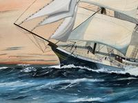 Awesome Tea Clipper Ship 'Hornet' Rough Seas Seascape Watercolour Painting c.1909 (6 of 12)