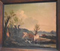 Fine Georgian Landscape Oil Painting with Cattle & Dog (4 of 8)