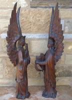 Good Pair of Carved Oak Angels 19th Century (8 of 12)