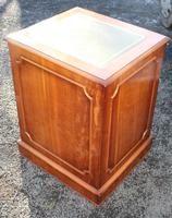 1960's Yew Wood Filing Cabinet with Green Leather Top (4 of 4)
