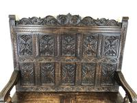 Antique Victorian Carved Oak High Back Settle (6 of 15)