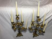 Pair of Art Nouveau French Gilt Bronze Ormolu 5 Branch Candelabra's & Ivory White Wax Candles (3 of 18)
