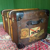Steamer Trunk 1930s Art Deco Bentwood Travel Chest Coffee Table Storage (6 of 10)
