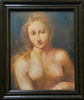 Striking Early 1900s Impressionist Oil Portrait Painting Of A Naked Beauty