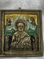 Early 20th Century Cold Painted Bronze Religious Russian Orthodox Church Icon (12 of 15)