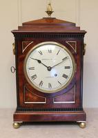 Small  Mahogany Chamfer Top Bracket Clock (8 of 10)