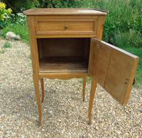 Antique French Fruitwood Bedside Cabinet Leather Book Fronts (6 of 8)