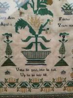 """Large Antique Needlework Sampler 1835 Mary Ann Fulcher 13yrs in Frame 14"""" x 19"""" (10 of 12)"""