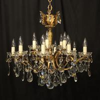 Italian 15 Light Gilded Brass Antique Chandelier