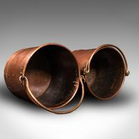 Pair of Antique Fireside Bins, English, Copper, Coal, Fire Bucket, Victorian (11 of 12)