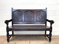 Antique Carved Oak Settle Bench (2 of 10)
