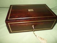 Quality Unisex Inlaid Rosewood Jewellery Box. c1840 (3 of 11)