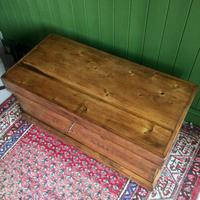 Antique Victorian Pine Chest Rustic Industrial Wooden Trunk + Key + Original Interior (6 of 12)