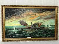 "Large Marine Oil Painting WW2 Sea Battle ""HMS Battleship Hood The Last Moments"" (3 of 8)"