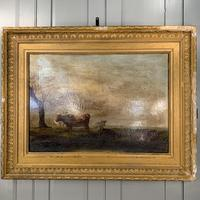 Antique large Georgian landscape oil painting study of cows (4 of 9)