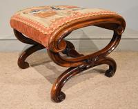Victorian Yew Wood Stool with Needlework