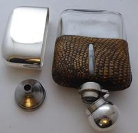 Silver Plated Snake Skin Bound Glass Hip Flask Drew & Son London c.1910 (6 of 12)