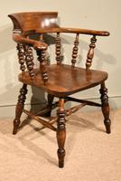 19th Century Elm Smokers Bow Armchair (3 of 6)