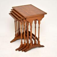 Antique Yew Wood Nest of 4 Tables (3 of 9)