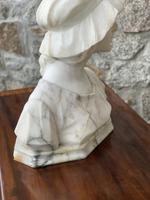 Alabaster Bust of Young Girl Wearing a Bonnet (21 of 25)