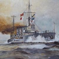 Original Painting of WW1 Battle Cruiser (3 of 5)