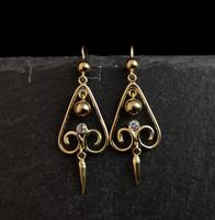 Antique Victorian Diamond Drop Earrings, 15ct Gold (9 of 10)