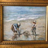 M J Rendall 20th Century Shell Pickers Oil Painting (2 of 5)