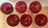Set of Six Cranberry Wine Glasses (4 of 5)