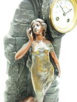 Art Nouveau Figural Mantel Clock Set 8 Day (3 of 11)