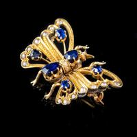 Antique Victorian Sapphire Pearl Butterfly Brooch 15ct Gold 1.20ct Sapphire Circa 1890 (4 of 5)