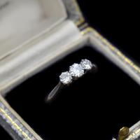 Antique Old Cut Diamond Three Stone Trilogy 18ct Gold and Platinum Ring (10 of 10)