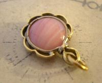 Antique Pocket Watch Chain Fob 1890s Victorian Gilt & Pink Stone Dainty Fob (4 of 7)