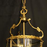 French Small Convex Gilded Triple Light Antique Lantern (8 of 10)