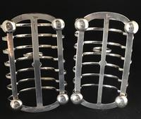 Pair of Antique Walker & Hall 7 Bar silver Plated Toast Racks (6 of 6)