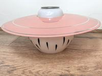 Pair of Stylish French 1960's Glass Pink White Hat Lamp Shades (17 of 40)