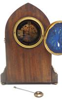 Fantastic French Inlaid Lancet Mantel Clock Multi Wood inlay 8 Day Striking Mantle Clock (3 of 10)