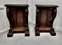 Pair of 19th Century Art Nouveau Gothic Carved Oak Console Pedestals (6 of 11)