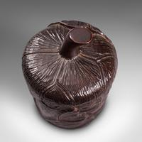 Small Antique Lidded Pot, Oriental, Chinese Elm, Carved Treen, Victorian, C.1900 (9 of 12)