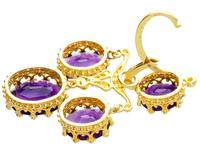 9.15ct Amethyst & 21ct Yellow Gold Chandelier Earrings - Antique c.1895 (6 of 9)
