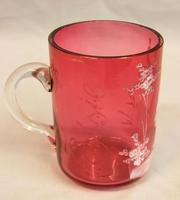 Antique Victorian Mary Gregory Cranberry Glass Mug (5 of 6)