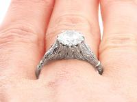 1.74ct Diamond & Platinum Solitaire Ring - French c.1930 (9 of 9)
