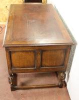 1930s Carved Oak Desk with Good Oak Top. 1 Piece (3 of 4)