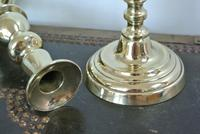 Pair of Unusual Acorn Victorian Brass Candlesticks Round Base Pushers c.1860 (5 of 6)