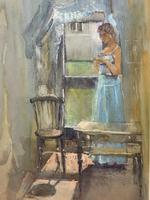 Stunning 20th Century Watercolour & Pastel Portrait Painting in Art Deco Manner (8 of 11)