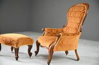 Antique Victorian Mahogany Armchair & Footstool (3 of 12)