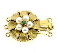Mid 20th Century 9ct Yellow Gold Pearl & Turquoise Three Row Necklace Clasp (4 of 4)