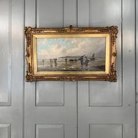 Antique marine seascape oil painting of fishing scene signed W Richards 2 of 2 (2 of 10)