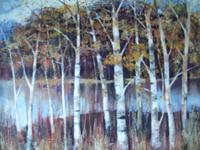 Lawrence Hill: oil painting on board of Silver Birches in Epping Forest (2 of 5)